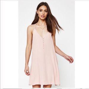 Pink Criss Cross Strap Button Down Dress